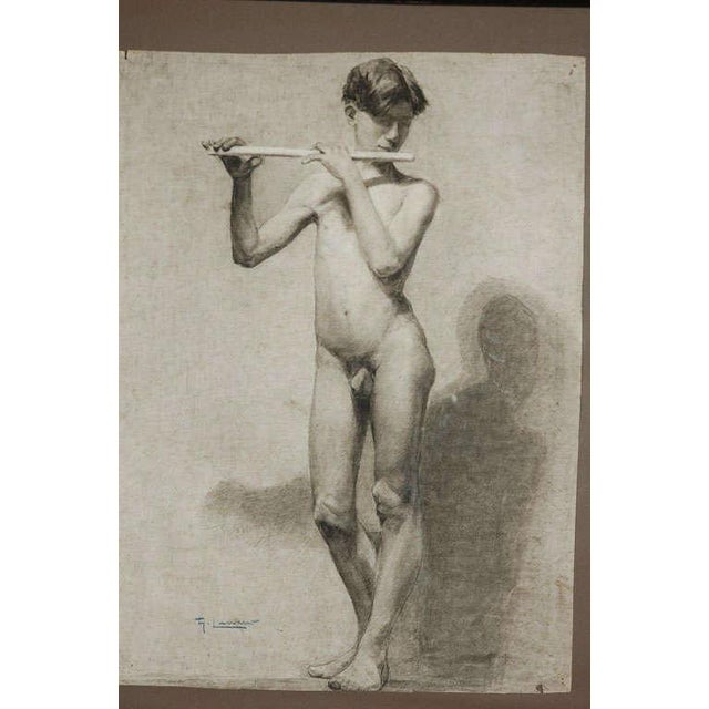 Pair of Charcoal Italian Male Nude Drawings From 1880 For Sale - Image 9 of 10