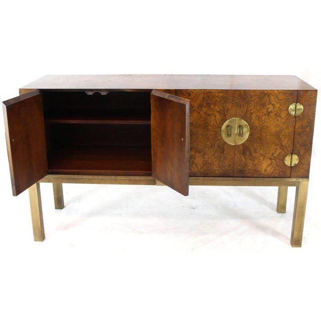 Burl Wood and Solid Brass Hardware Compact Double Doors Credenza For Sale - Image 10 of 11
