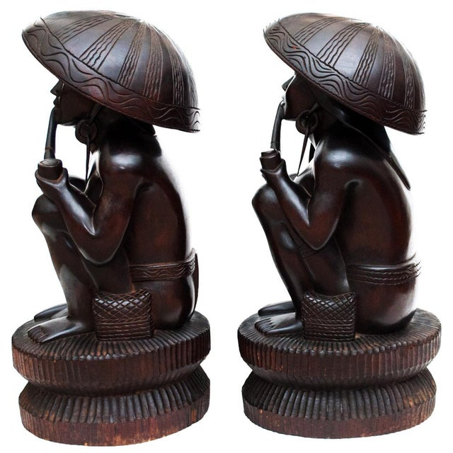 Large Early 20th C. African Narra Wood Sculptures - a Pair For Sale - Image 4 of 13