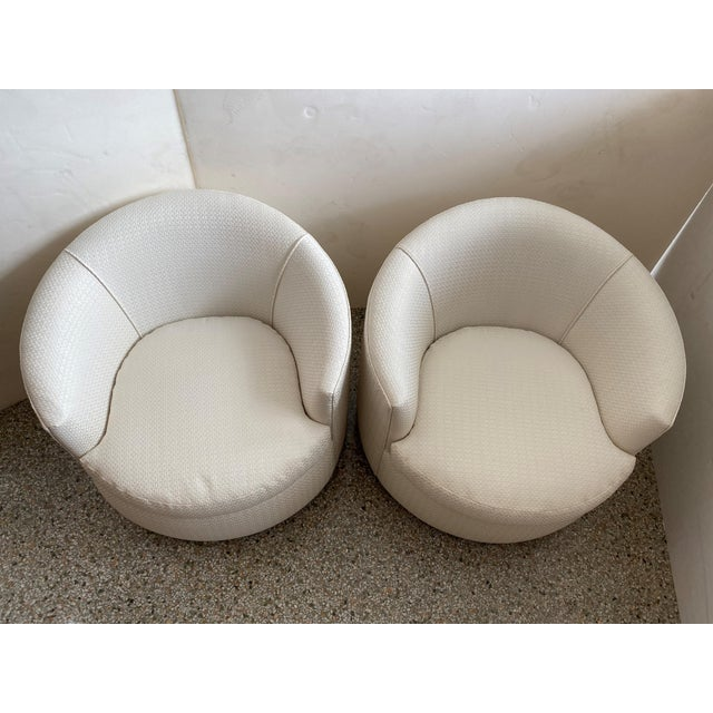 Vintage Swivel Club Chairs - a Pair For Sale - Image 4 of 12