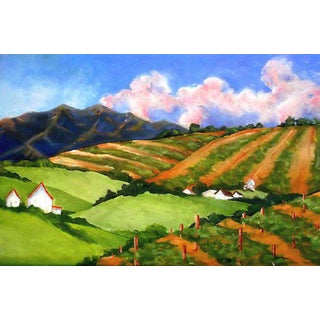 Impressionist California Plein Air Wine Country Mendocino Vineyard Hills Painting by Lynne French For Sale