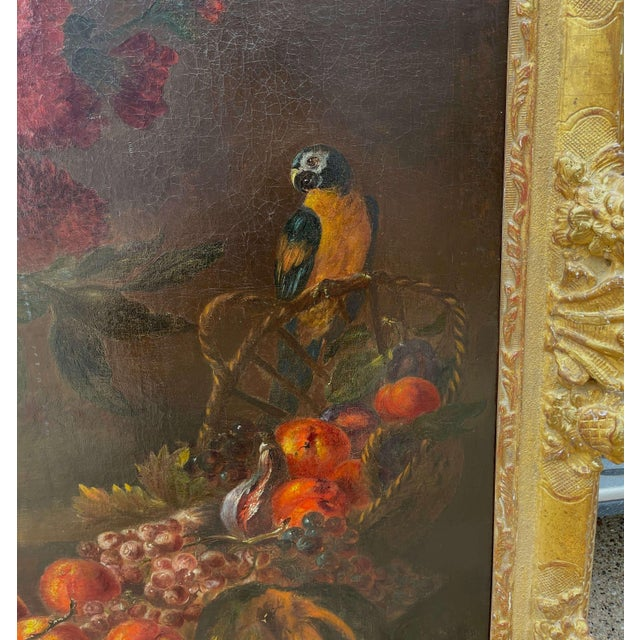 Late 19th Century 19th Century French Still Life Flower Oil Painting in Carved Gilt Frame For Sale - Image 5 of 13