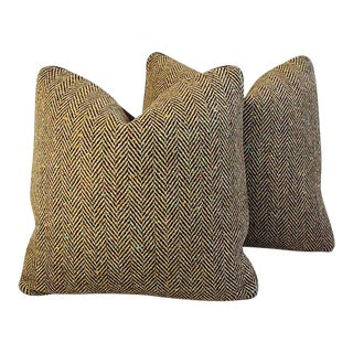 """Custom Herringbone Wool & Leather Feather/Down Pillows 20"""" Square - Pair For Sale"""