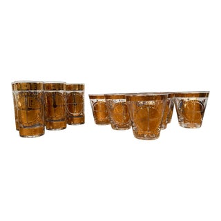 Vintage Gold High and Low Culver Glasses - Set of 13 For Sale