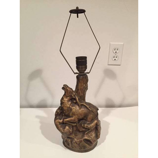 Mid 20th Century Folk Art Ceramic Hunting Themed Table Lamp For Sale - Image 10 of 10