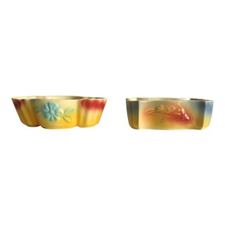 1940s Vintage Airbrushed American Art Pottery Planters - a Pair For Sale
