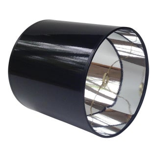 High Gloss Black Drum Lamp Shade With Silver Lining For Sale