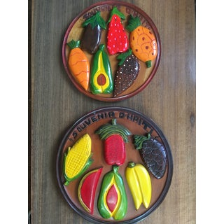 Mid Century Tiki Hand-Carved Wooden Fruit Plates - a Pair Preview