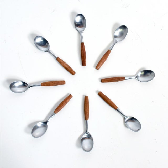 Metal Mid Century Danish Modern Dansk Flatware Set 53 Pieces Teak Stainless Fjord Jens H Quistgaard For Sale - Image 7 of 11