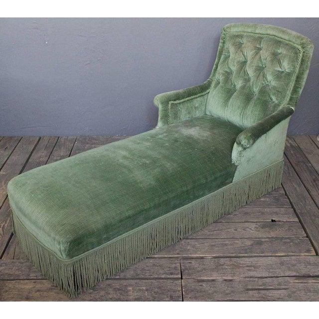19th Century Light Green Velvet Chaise - Image 2 of 8