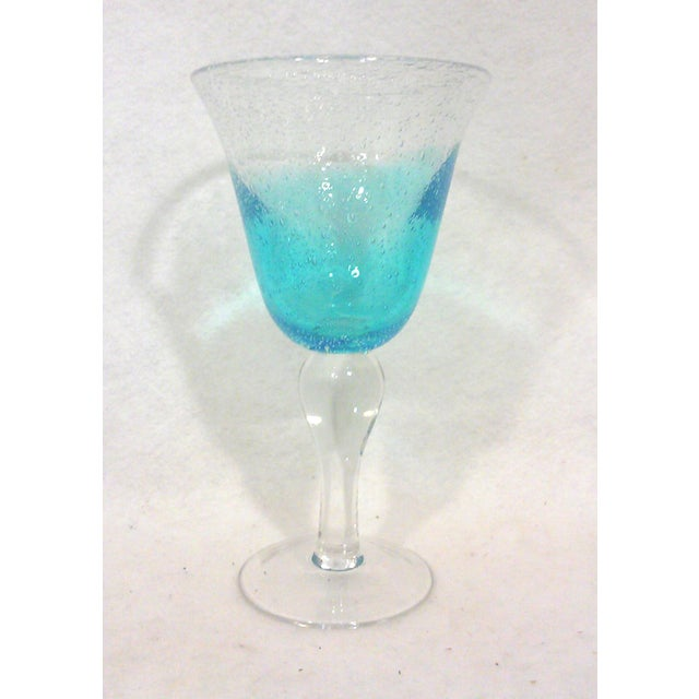 Blue Ombre Hand Blown Goblets - Set of Eight - Image 3 of 4