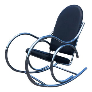 Thonet Baughman Style Chrome Rocking Chair