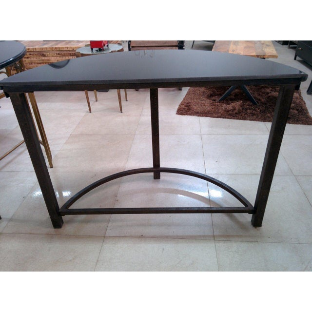 Brown Semi-Circle Metal Console Table with Marble Top For Sale - Image 8 of 10