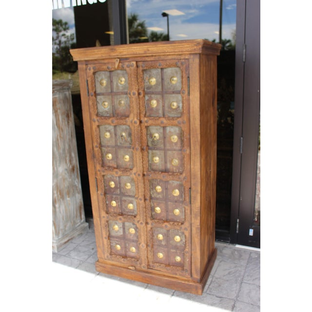 Antique Indian Solid Hand Carved Wood and Iron Clad Armoire For Sale - Image 4 of 9