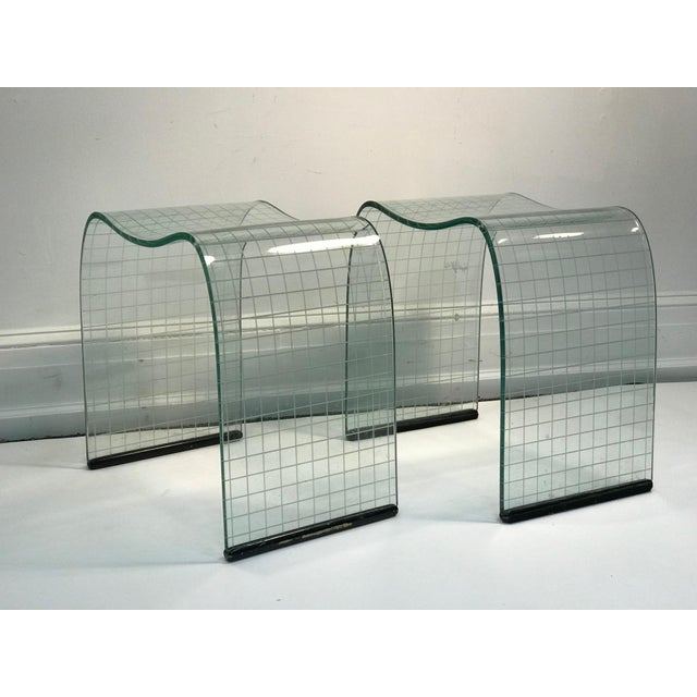 Modern Late 20th Century Vittorio Livi Curved Glass Crystal Scroll Side Tables - a Pair For Sale - Image 3 of 7
