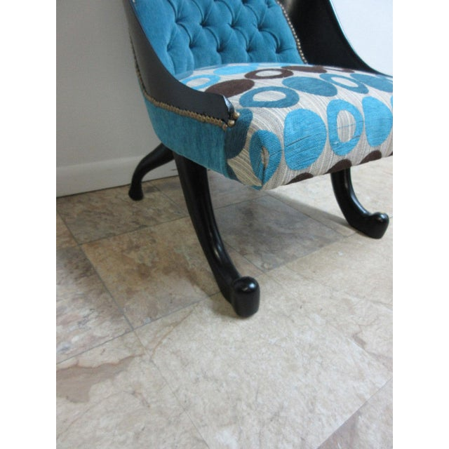 Hollywood Regency Style Modern Scoop Back Fireside Lounge Club Chair For Sale - Image 4 of 10