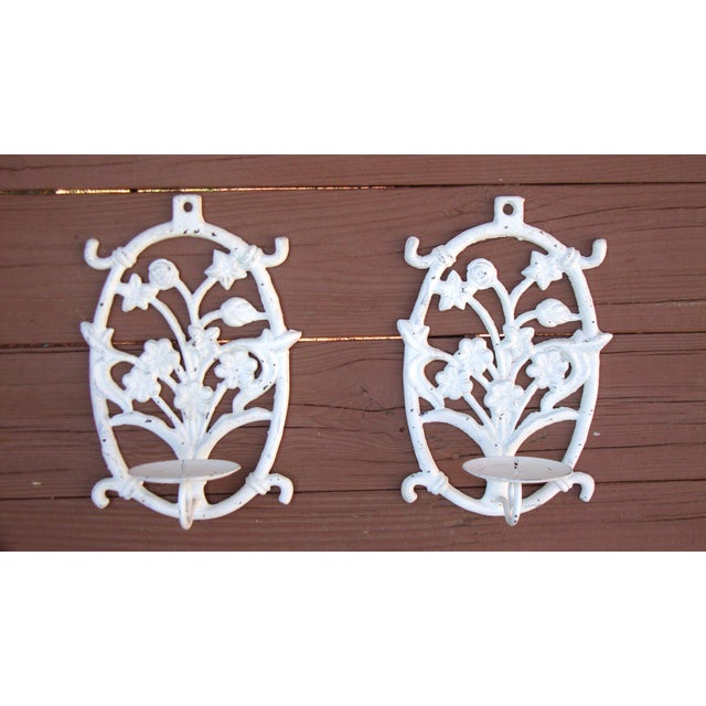 Painted White Cast Iron Floral Candle Sconces - 2 - Image 11 of 11