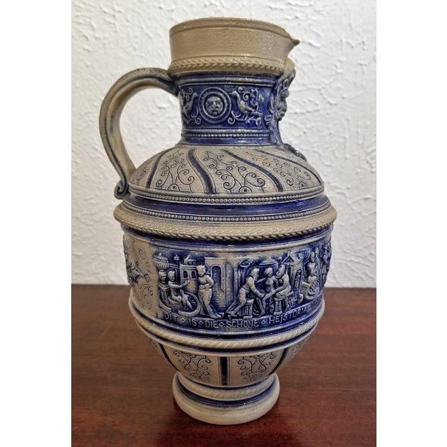 """1584 Flemish Salt Glazed Pottery Beer Ewer """"Story of Susanna"""" After Engel Kran For Sale - Image 13 of 13"""