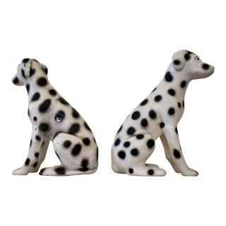 Antique Hubley Seated Dalmatian Cast Iron Doorstops - A Pair For Sale