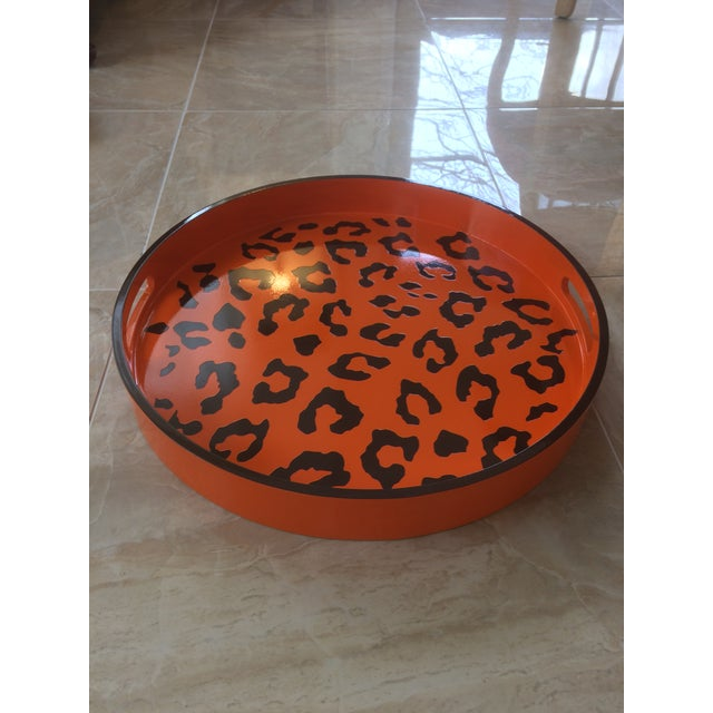 Not Yet Made - Made To Order Round Hermès Inspired Orange & Brown Leopard Tray For Sale - Image 5 of 9