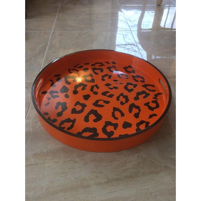 Round Hermès Inspired Orange & Brown Leopard Tray - Image 5 of 9