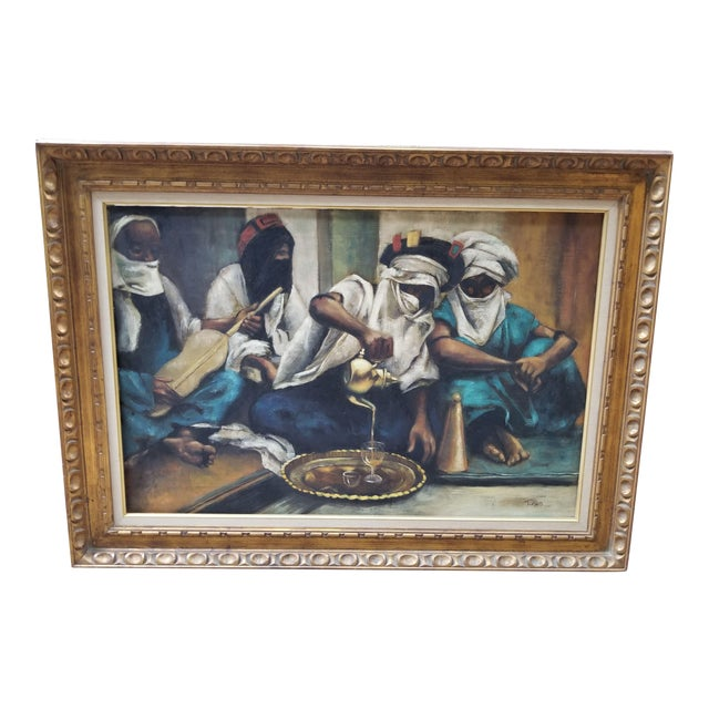 """1990s Jenine Tomao """"Coffee Drinkers"""" Oil on Canvas Painting For Sale"""