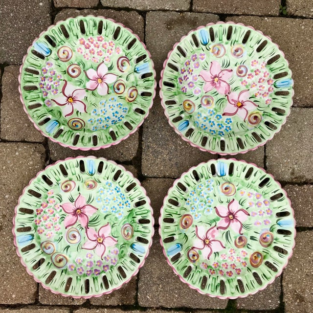 Vintage Vestal Alcobaca Majolica Hand Painted Pink & Green Plates - Set of 4 For Sale - Image 9 of 9