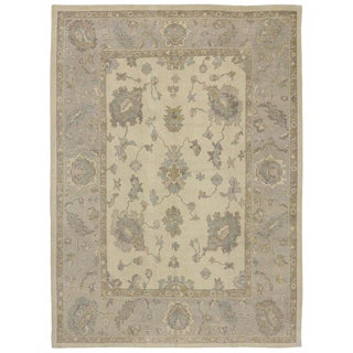 Contemporary Turkish Oushak Rug With Neutral Earth-Tone Colors, 09'06 X 12'11 For Sale