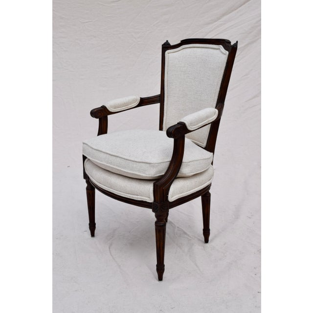Wood Louis XVI French Walnut Fauteuil Accent Chair For Sale - Image 7 of 13
