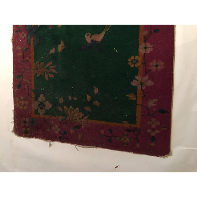 Antique Chinese Art Deco Flowers & Birds Rug - 2′11″ × 4′10″ - Image 5 of 9