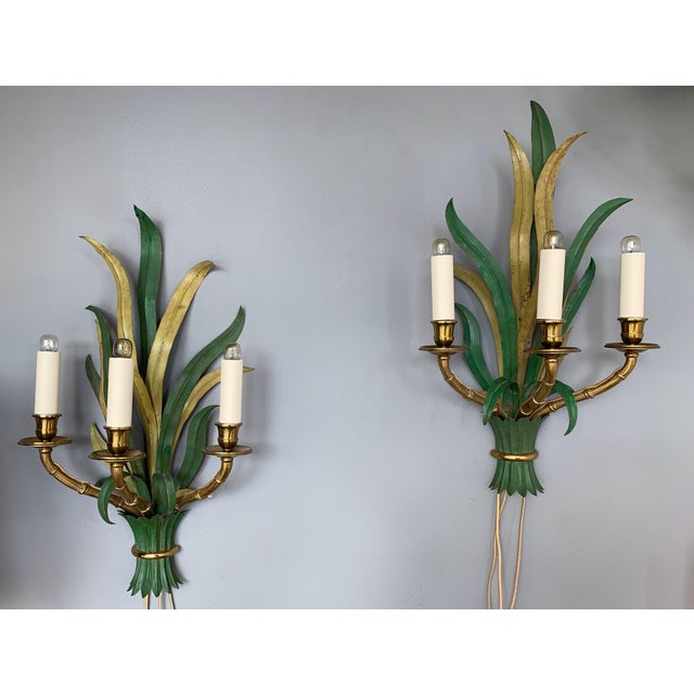Pair of Sconces Bamboo Palm Bronze by Maison Bagues, France, 1970s For Sale - Image 9 of 13