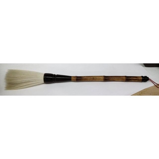 Vintage Chinese Bamboo Bone Handle Natural Hair Calligraphy Brush