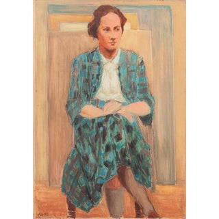 'Woman in Blue' by Anton Schroder, 1953, Danish Royal Academy, Brooklyn Museum, Kolding For Sale