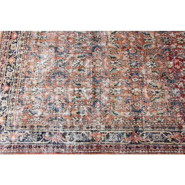 """Red Vintage Persian Distressed Rug, 4'3"""" X 19'7"""" For Sale - Image 8 of 12"""