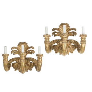 Huge Pair of Fine Designer Neoclassical Style Gilt-Wood Wall Sconces For Sale