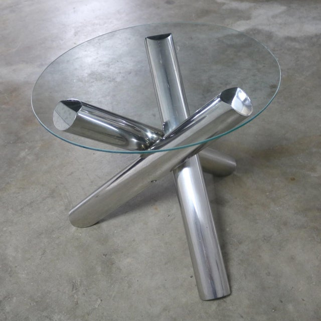 Transparent Tubular Stainless-Steel Jacks Tripod End Table Round Glass Top Style of Milo Baughman For Sale - Image 8 of 13