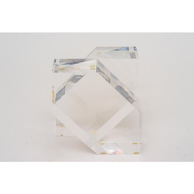 Transparent Geometric Form Lucite Sculpture For Sale - Image 8 of 11