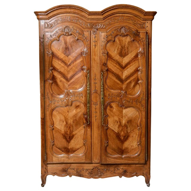 Mid 18th Century French Cherry Double Dome Armoire For Sale