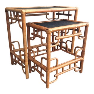 Vintage Chinoiserie Bamboo Fretwork Nesting Tables-a Pair For Sale