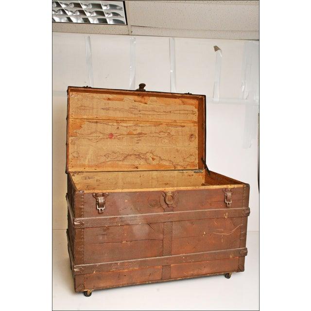 Vintage Brown Wood Steamer Trunk - Image 4 of 11