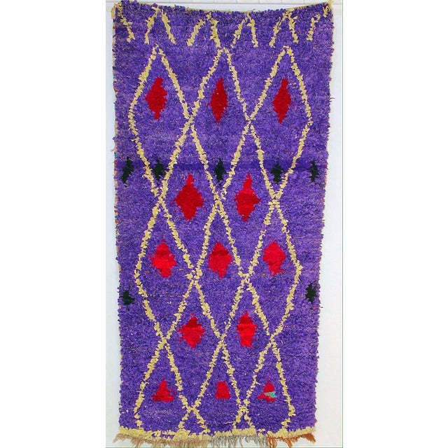 "Purple & Red Diamond Pattern Boucherouite Rug - 3'4"" X 6'5"" - Image 4 of 4"