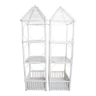 20th Century Boho Chic Painted Rattan Tall Shelves - a Pair For Sale