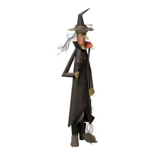 Metal Folk Art Witch Statue