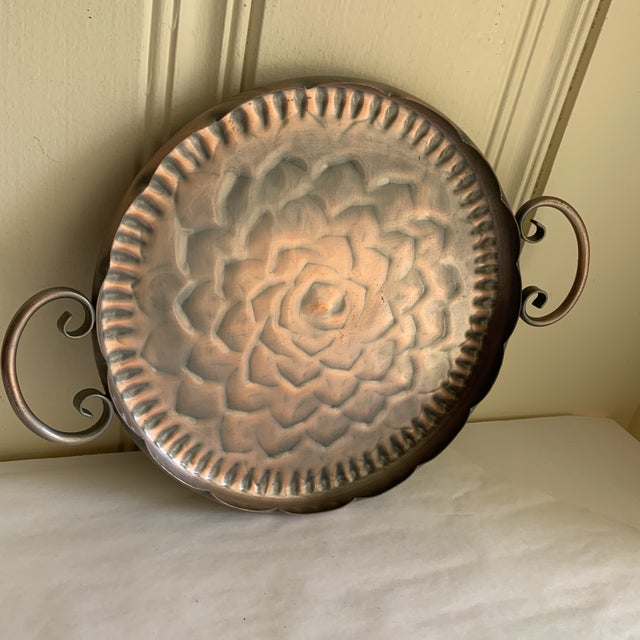 Vintage Scalloped Copper Tray For Sale - Image 9 of 11