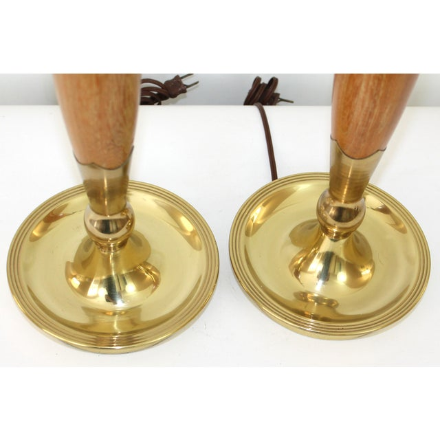 Mid-Century Modern Teak & Brass Lamps - A Pair For Sale - Image 7 of 10
