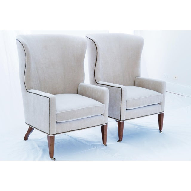 Baker Furniture Modern Wingback Accent Chairs - A Pair For Sale - Image 12 of 12