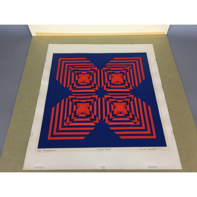 """Blue 1971 Vintage """"New Perspective"""" Geometric Op Art Serigraph Collage by Anne Youkeles For Sale - Image 8 of 13"""