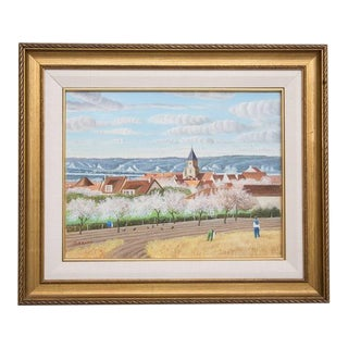 "Pierre Bazire ""Les Andelys au Printemps"" Framed Oil Painting on Board For Sale"