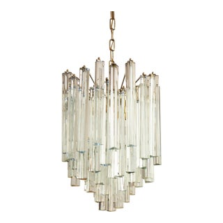 Lead and Crystal Chandelier with Triangular Prism by JT Kalmar For Sale
