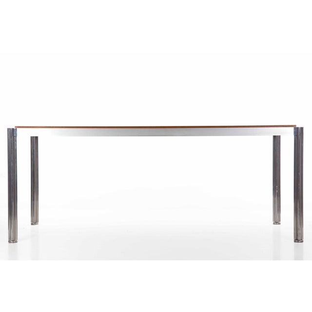 Jens Risom Rare Circa 1960s Jens Risom Oak and Aluminum Dining Table with Shamrock Legs For Sale - Image 4 of 13